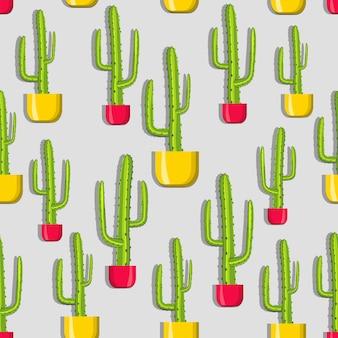 Patrón de cactus en macetas amarillas y rojas.