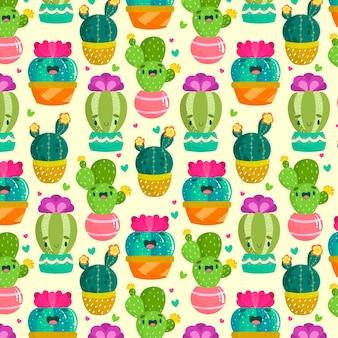 Patrón de cactus multicolor