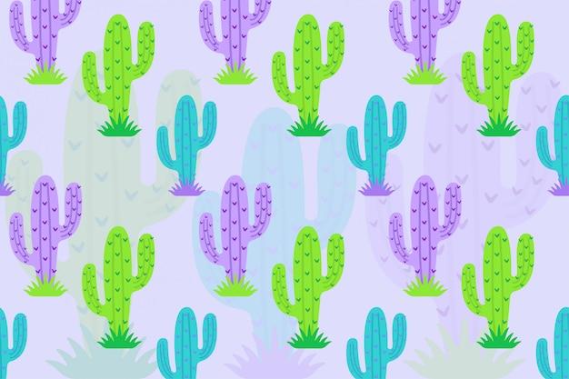 Patrón de cactus púrpura verde
