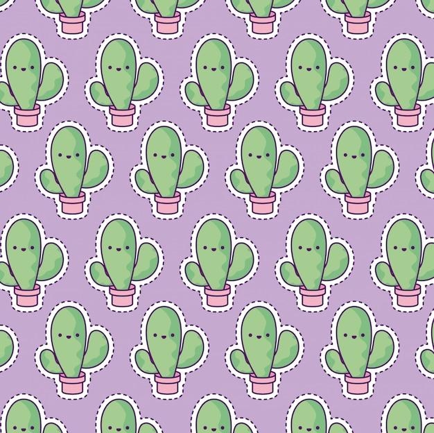 Patrón con cactus tropical