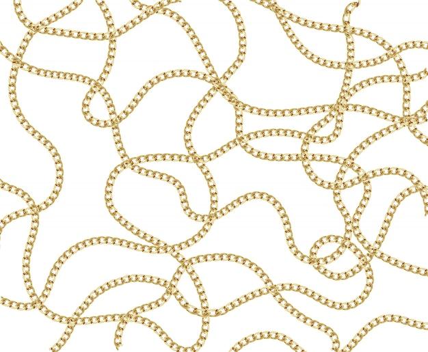 Patrón de cadena dorada sin costura