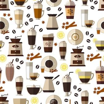 Patrón de café sin costuras en estilo plano. taza y desayuno, bebida y espresso, caliente y cafeína.