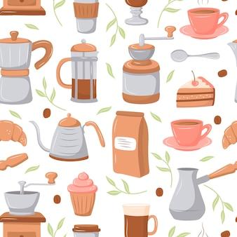Patrón de café. ilustración de estilo de dibujos animados