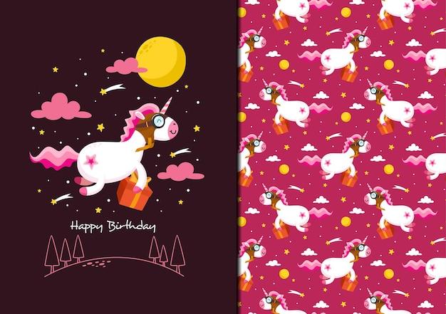 Patrón de caja de regalo de entrega de unicornio feliz cumpleaños