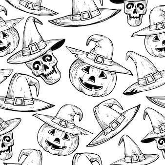 Patrón con calabazas y calaveras para halloween.