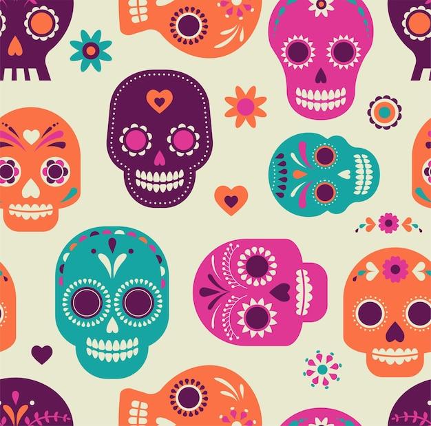 Patrón de calavera día mexicano de muertos