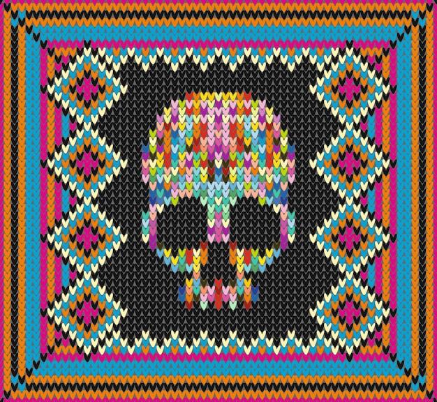 Patrón con calavera y elementos étnicos mexicanos y adornos tradicionales latinoamericanos
