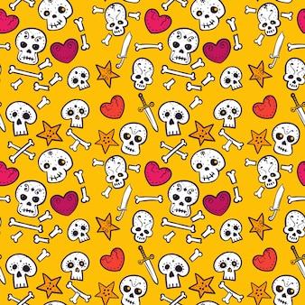 Patrón con calaveras y corazones, huesos y dagas, coloridos patrones sin fisuras