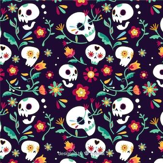 Patrón de calaveras florales día de muertos