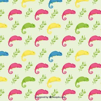 Patrón de camaleones coloridos