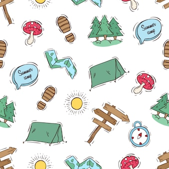 Sin patrón de camping con estilo doodle color