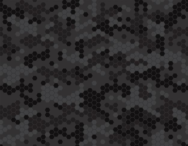 Patrón de camuflaje oscuro con píxeles de panal. adorno para papel de regalo, ropa, accesorios, fondo, estampados. vector ilustración simple