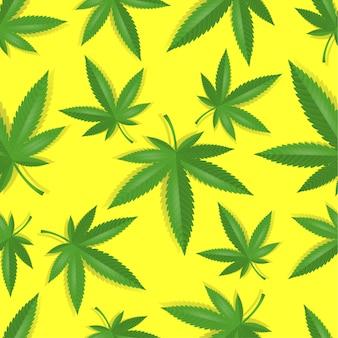 Patrón de cannabis marihuana sin costura.