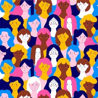 Patrón de caras de mujeres para el día de la mujer.