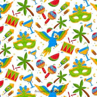 Patrón carnaval brasileño dibujado a mano