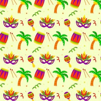 Patrón de carnaval brasileño dibujado a mano