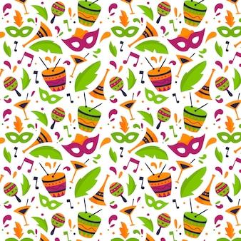 Patrón de carnaval brasileño de diseño dibujado a mano
