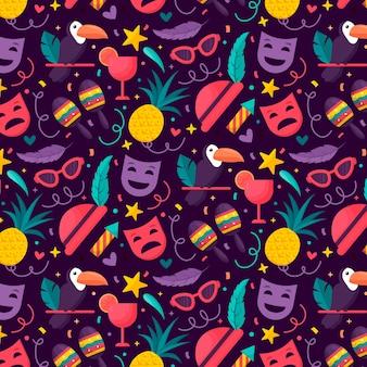 Patrón de carnaval brasileño de diseño plano colorido