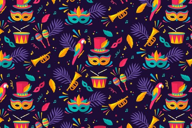 Patrón de carnaval brasileño de diseño plano
