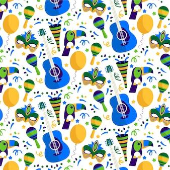 Patrón de celebración de carnaval brasileño de diseño plano