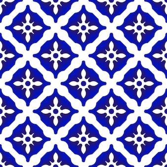 Patrón de cerámica azul y blanco.