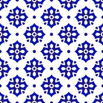 Patrón de cerámica tailandesa, azulejo abstracto de la flor, porcelana floral azul y blanca