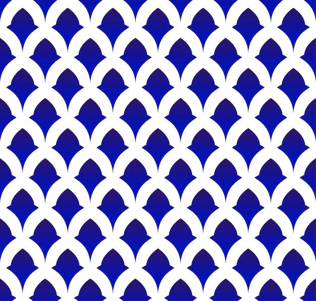 Patrón de cerámica tailandesa, porcelana transparente de japón y china, fondo moderno azul y blanco