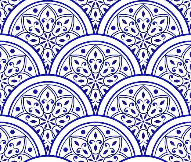 Patrón cerámico azul y blanco