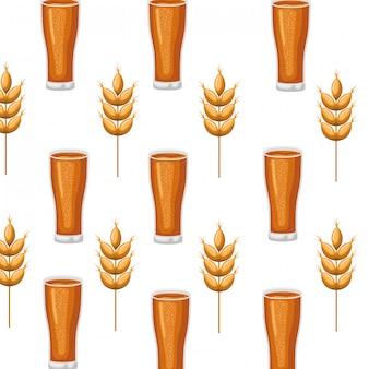 Patrón de cerveza con espuma y trigo icono