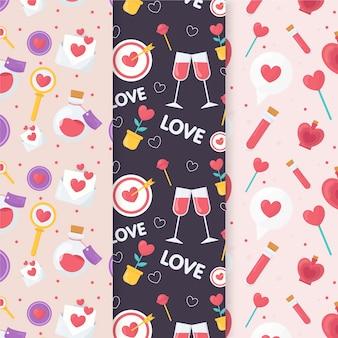 Patrón de champagne y corazones de san valentín