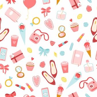 Patrón de chicas sin costuras. ilustraciones de dibujos animados de varios artículos de cosméticos, ropa, joyas, dulces y flores. tonos rojo-rosa sobre un fondo blanco.
