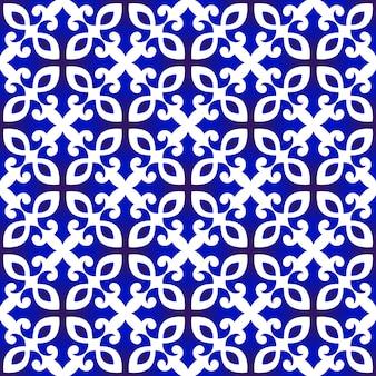 Patrón chino azul y blanco