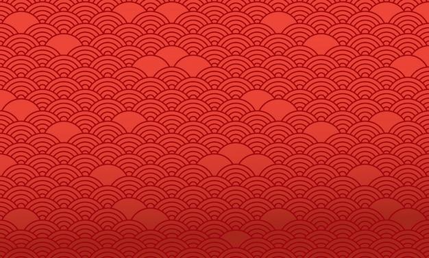 Patrón chino rojo, fondo oriental. vector