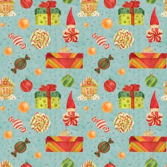 Patrón de christmas elves factory con pan de jengibre y piruletas y regalos en un azul claro