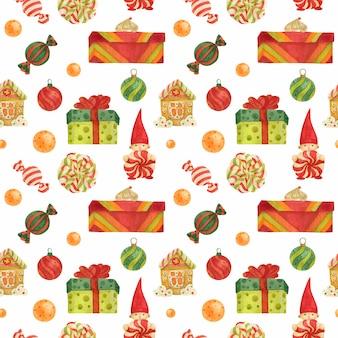 Patrón de christmas elves factory con pan de jengibre y piruletas y regalos