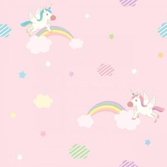 Patrón de cielo rosa unicornio