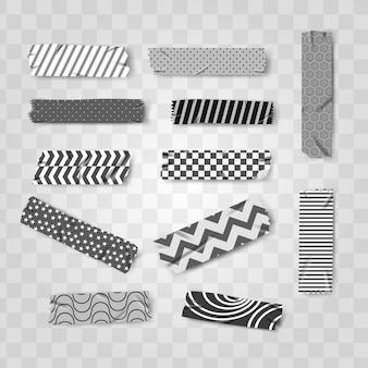 Patrón de cinta realista washi blanco y negro