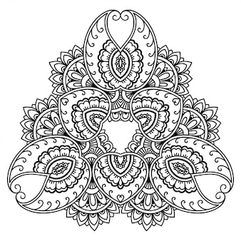 Patrón circular en forma de mandala. adorno decorativo en estilo étnico oriental. esquema de dibujo a mano doodle ilustración. página de libro para colorear.