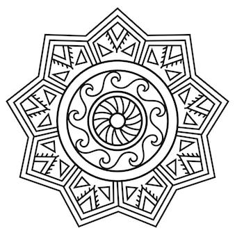 Patrón circular en forma de mandala. adornos tradicionales del pueblo maorí, estilo moko. vintage decorativo tribal de tema africano.