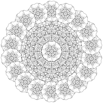 Patrón circular en forma de mandala en estilo étnico oriental, indio.