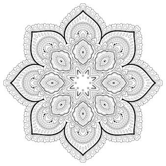 Patrón circular en forma de mandala. estilo mehndi. página de libro para colorear.