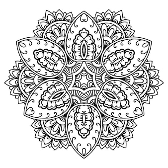 Patrón circular en forma de mandala con flor. adorno decorativo en estilo étnico oriental. esquema de dibujo a mano doodle ilustración.