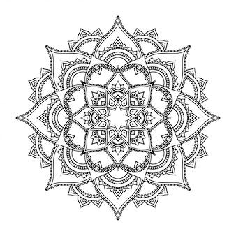 Patrón circular en forma de mandala con flor. adorno decorativo en estilo étnico oriental. esquema doodle mano dibujar ilustración.