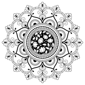 Patrón circular en forma de mandala con flor. adorno decorativo en estilo étnico oriental. página de libro para colorear.