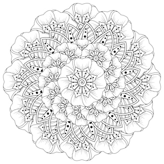 Patrón circular en forma de mandala con flor para decoración de tatuajes de henna mehndi. decoración de flores mehndi en estilo étnico oriental indio.
