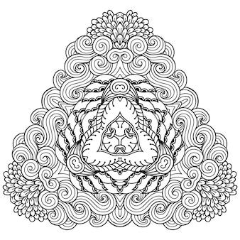 Patrón circular en forma de mandala con flor para henna, mehndi, tatuaje, decoración. adorno decorativo en estilo étnico oriental. ilustración de vector de dibujo a mano de doodle de contorno.