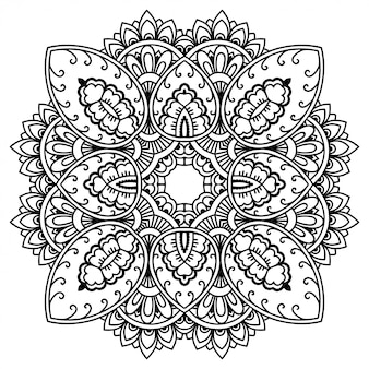 Patrón circular en forma de mandala con flor para henna, mehndi, tatuaje, decoración. adorno decorativo en estilo étnico oriental.