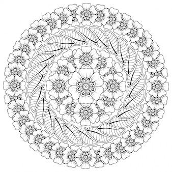 Patrón circular en forma de mandala con flor para henna, mehndi, tatuaje, decoración. decoración de flores mehndi en estilo étnico oriental, indio.