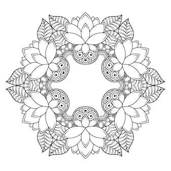 Patrón circular en forma de mandala con flor de loto para henna, mehndi, tatuaje, decoración. adorno decorativo en estilo étnico oriental. ilustración de vector de dibujo a mano de doodle de contorno.