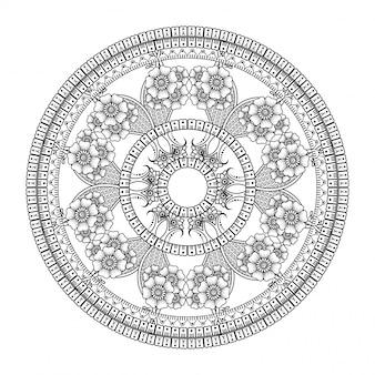 Patrón circular en forma de mandala con flor de loto